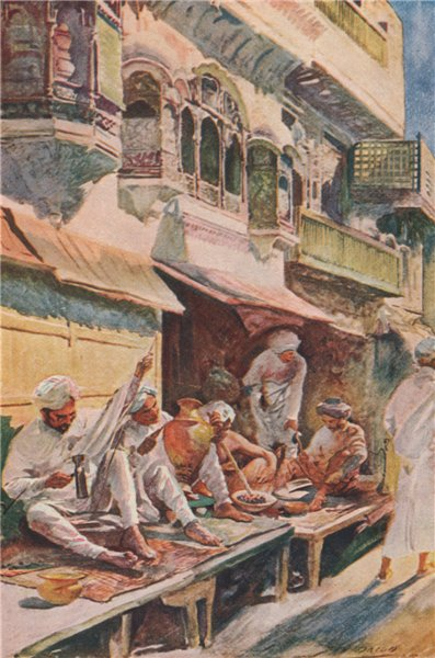 Associate Product 'Workers in an Indian Bazaar' by J.H. Bacon. India 1913 old antique print