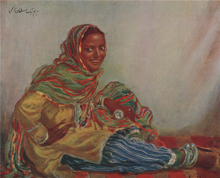 Associate Product 'A Mohammedan girl' by Eva Roos. India 1913 old antique vintage print picture