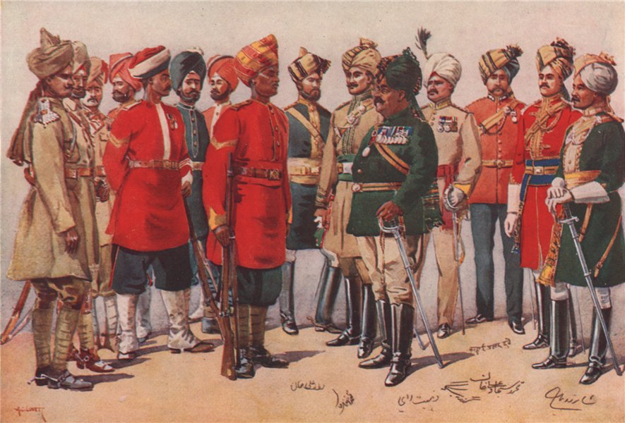 Associate Product 'A group of Indian soldiers' by A.C. Lovett. India 1913 antique print