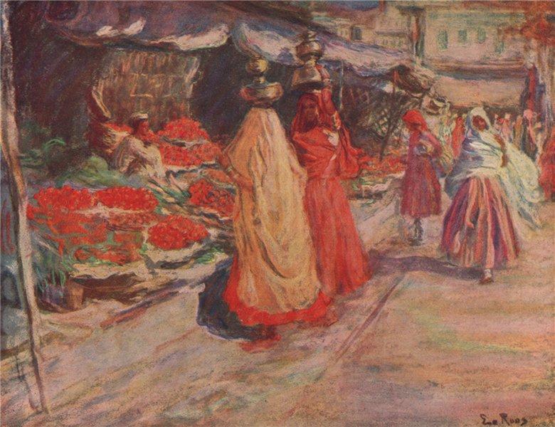 Associate Product DELHI. 'A fruit stall, Delhi' by Eva Roos. India 1913 old antique print