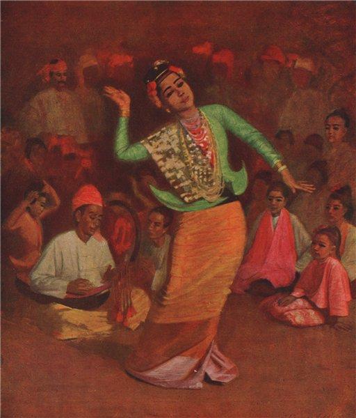Associate Product 'A Burmese dancing-girl' by J. Raeburn Middleton. India 1913 old antique print