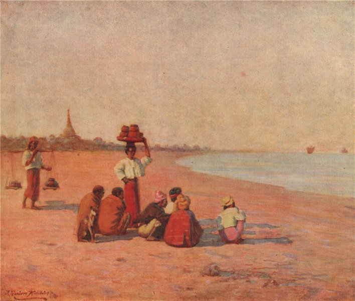 Associate Product 'On the banks of the Irrawaddy' by J. Raeburn Middleton. India 1913 old print