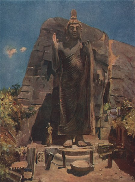 Associate Product 'A statue of Buddha' by Allan Stewart. Sri Lanka 1913 old antique print