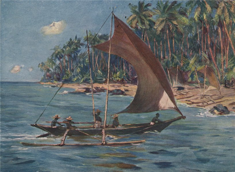 Associate Product 'Cingalese sailing canoe' by Allan Stewart. Sri Lanka 1913 old antique print