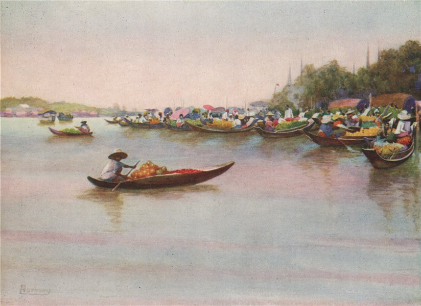 Associate Product 'The river market, Bangkok' by Edwin Arthur Norbury. Thailand 1913 old print