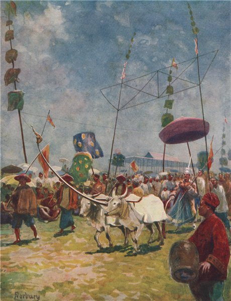 Associate Product 'Siamese farmers celebrating the rice-ploughing festival' Thailand. NORBURY 1913