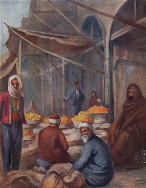 'In the fruit Bazaar, Damascus' by Margaret Thomas. Syria 1908 old print