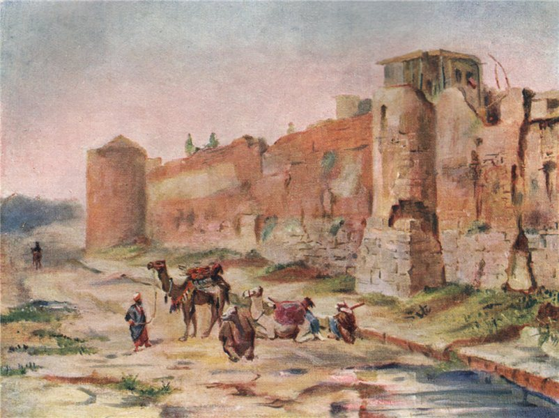 Associate Product 'Wall of Damascus - Twilight effect' by Margaret Thomas. Syria 1908 old print