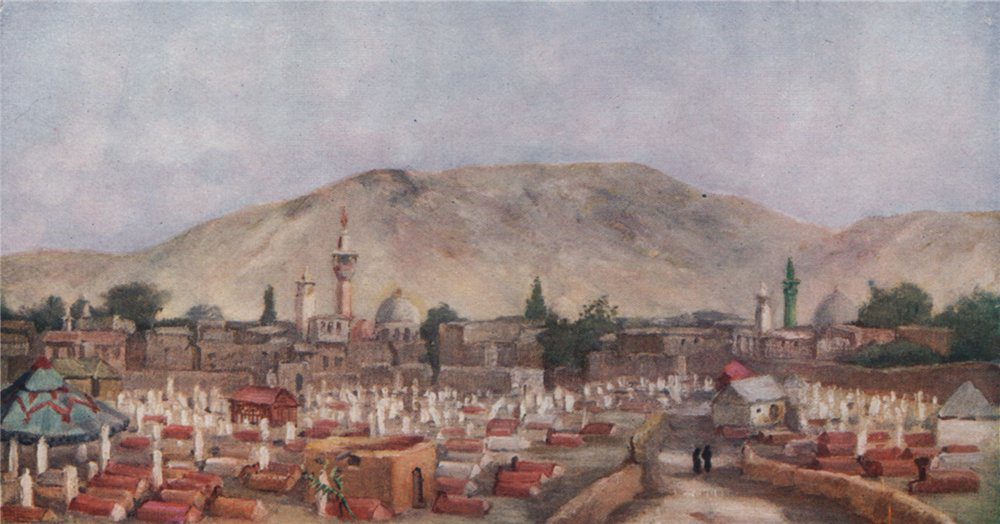 Associate Product 'Moslem cemetery in the Meidan, Damascus' by Margaret Thomas. Syria 1908 print