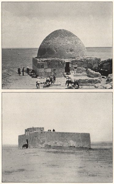 Associate Product '1. The well of Asra; 2. Guard house at Ain el Beda'. Syria 1908 old print