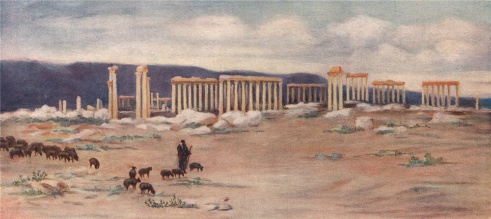 Associate Product 'General view of the colonnade, Palmyra' by Margaret Thomas. Syria 1908 print