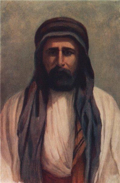 'Mohammed Abdullah, Sheikh of Palmyra' by Margaret Thomas. Syria 1908 print