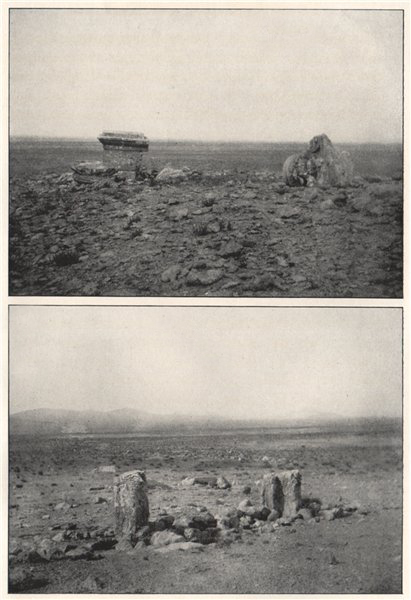 Associate Product Pillar at el Kerasi. First landmark - ancient door-posts. Syria 1908 old print