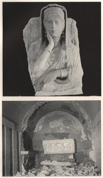 Associate Product '1. Bust from Palmyrene tomb 2. Underground burial vault'. Syria 1908 print