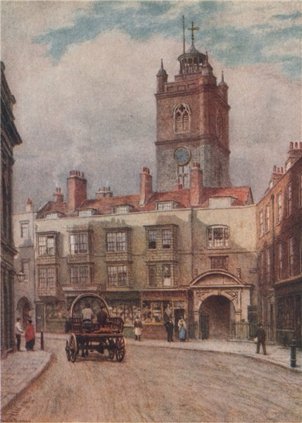 Associate Product Fore Street & tower of St. Giles's church, Cripplegate, 1884. Philip Norman 1905