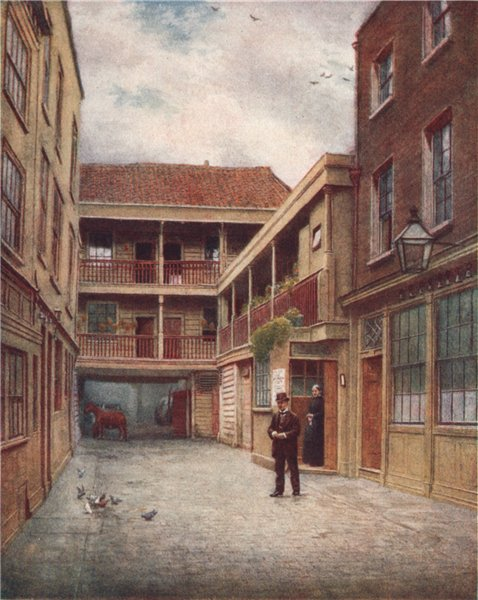 Associate Product Old Bell Inn yard, Holborn, from south, 1897. Phil Norman. Vanished London 1905