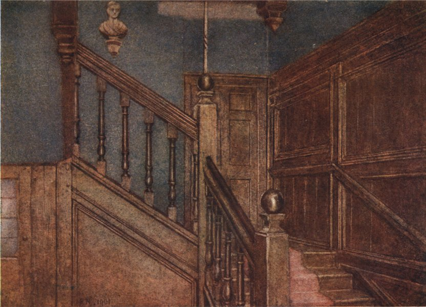 Associate Product 'Staircase of Sandford Manor House, 1898' by Philip Norman. Vanished London 1905