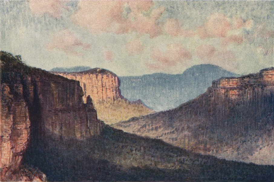 Associate Product The Barrier of the Blue Mountains, Grose Valley, by Percy Spence. Australia 1910