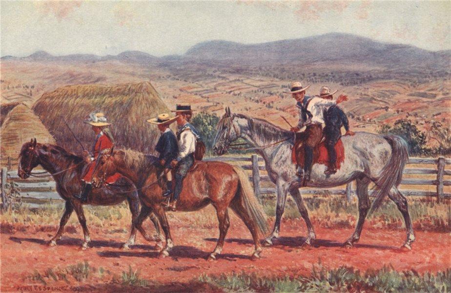 Associate Product 'Australian children riding to school' by Percy Spence. Australia 1910 print
