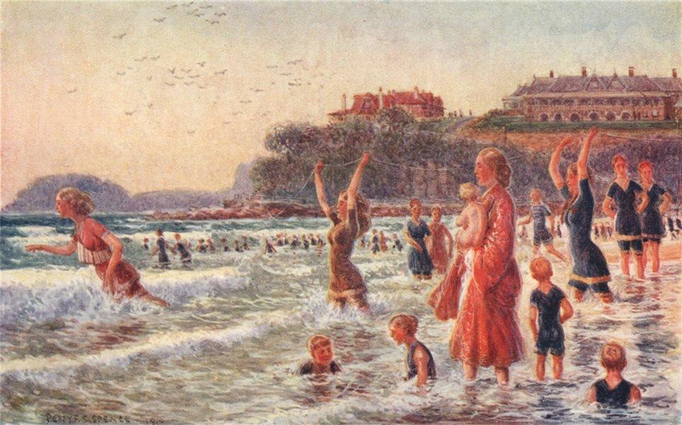 'Surf-bathing - girls' life-saving team' by Percy Spence. Australia beach 1910