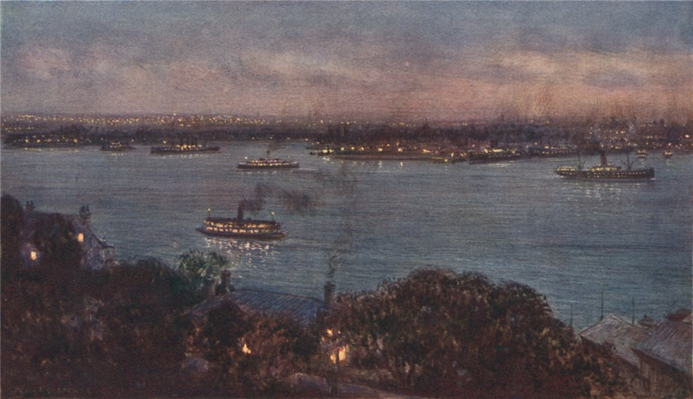 Associate Product 'The lights of Sydney' by Percy Spence. Sydney 1910 old antique print picture