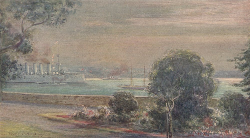 Associate Product 'A Silver Morning, Sydney Harbour' by Percy Spence. Sydney 1910 old print