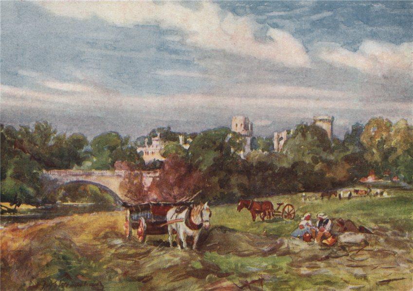 'Warwick Castle from the bridge' by Frederick Whitehead. Warwickshire 1906