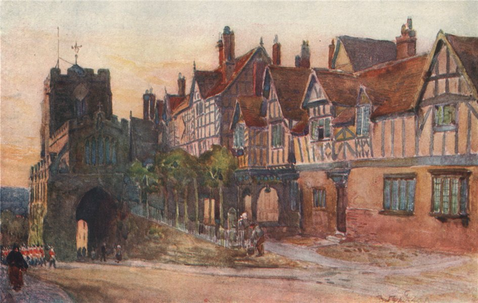Associate Product 'Leicester's Hospital, Warwick' by Frederick Whitehead. Warwickshire 1906