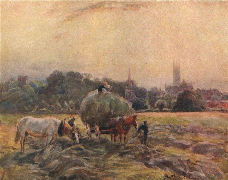 Associate Product 'Hayfield, Warwick' by Frederick Whitehead. Warwickshire 1906 old print