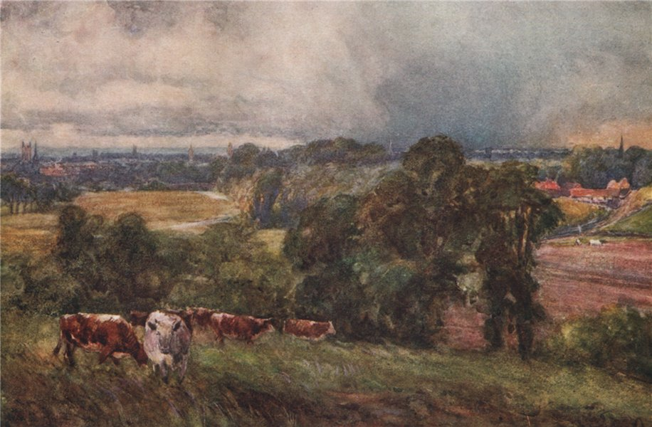 Associate Product 'Leamington & Warwick from the Campion Hills' by Frederick Whitehead. Warcs 1906