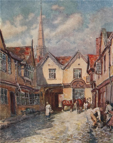 Associate Product 'Palace Yard, Coventry' by Frederick Whitehead. Warwickshire 1906 old print