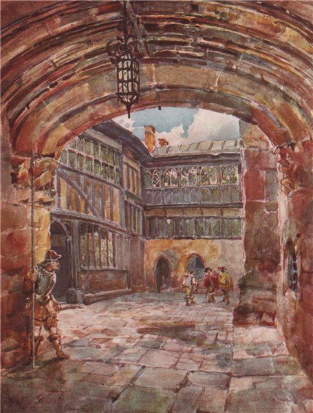 Associate Product 'Courtyard, St. Mary's Hall, Coventry' by Frederick Whitehead. Warwickshire 1906