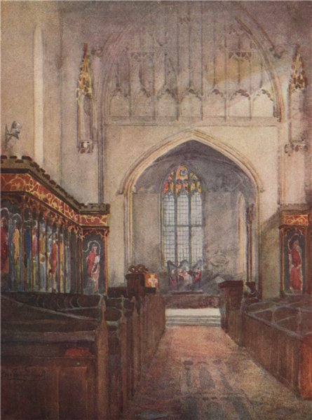 'Astley Church' by Frederick Whitehead. Warwickshire 1906 old antique print