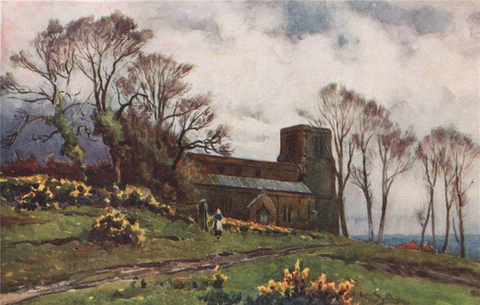 Associate Product 'Burton Dassett Church' by Frederick Whitehead. Warwickshire 1906 old print