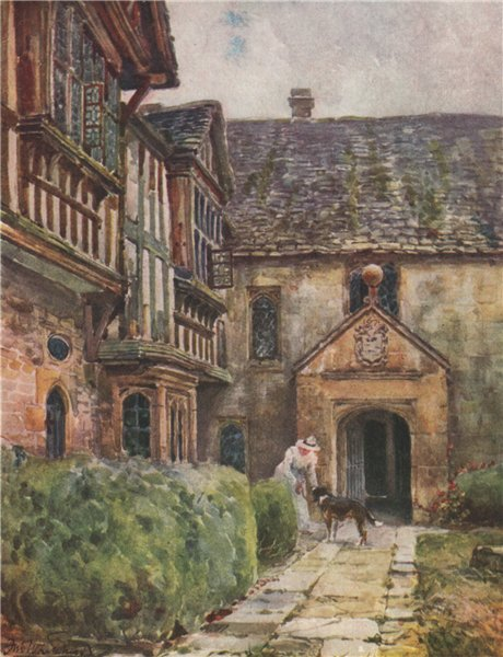 Associate Product 'Little Wolford manor-house' by Frederick Whitehead. Warwickshire 1906 print