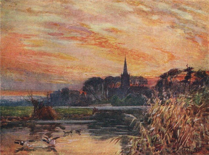 'Stratford-on-Avon' by Frederick Whitehead. Warwickshire 1906 old print