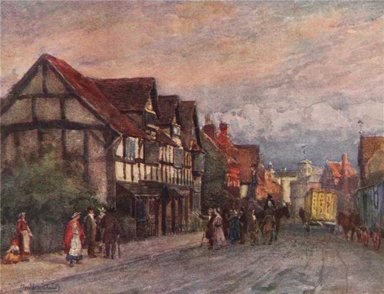 Associate Product 'Shakespeare's birthplace' by Frederick Whitehead. Warwickshire 1906 old print