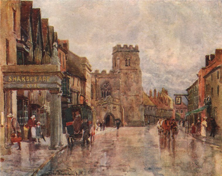 Associate Product 'Stratford-upon-Avon' by Frederick Whitehead. Warwickshire 1906 old print