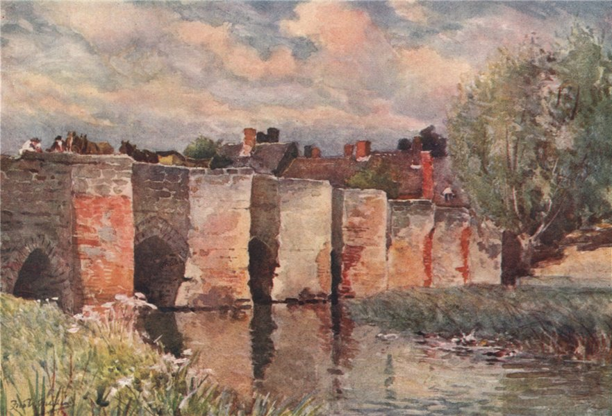 Associate Product 'Bidford Bridge' by Frederick Whitehead. Warwickshire 1906 old antique print