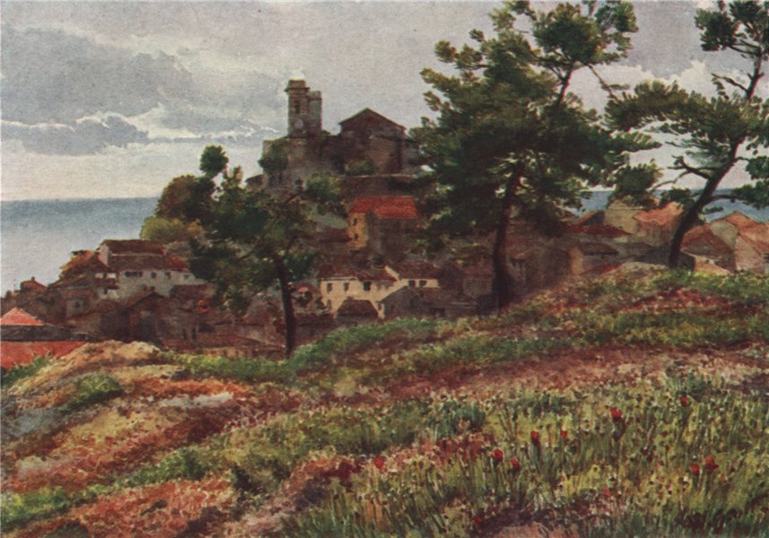 Associate Product CANNES. 'The old town, Cannes' by William Scott. Alpes-Maritimes 1907 print