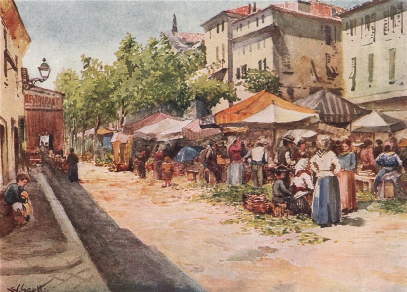Associate Product 'The vegetable market, Nice, looking west' by Scott. Alpes-Maritimes 1907