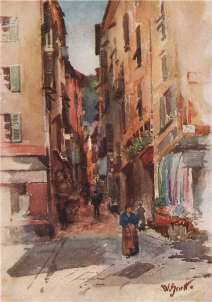 Associate Product NICE. 'Street in the old town, Nice' by William Scott. Alpes-Maritimes 1907