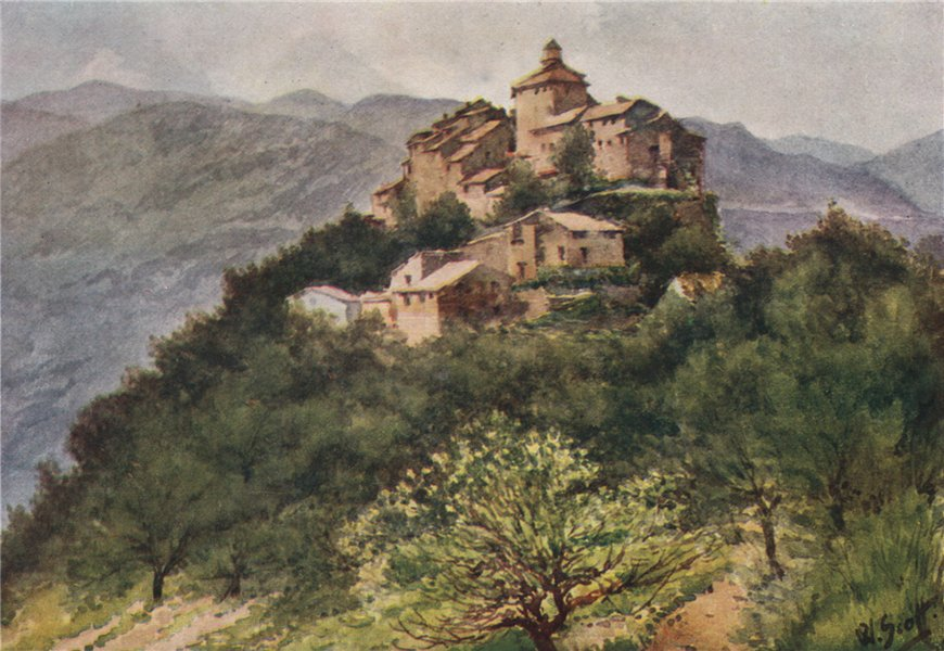 Associate Product 'La Roquette, in the Var Valley' by William Scott. Alpes-Maritimes 1907 print