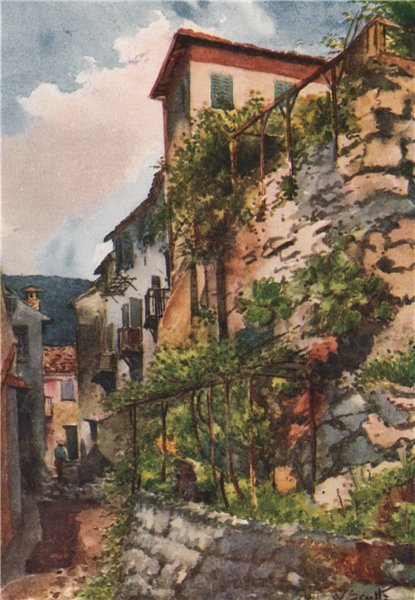 'Street in Falicon' by William Scott. Alpes-Maritimes 1907 old antique print