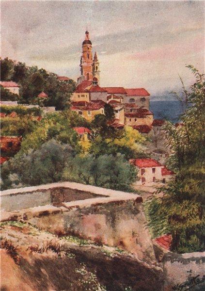 Associate Product MENTON. 'The old Church, Mentone' by William Scott. Alpes-Maritimes 1907 print
