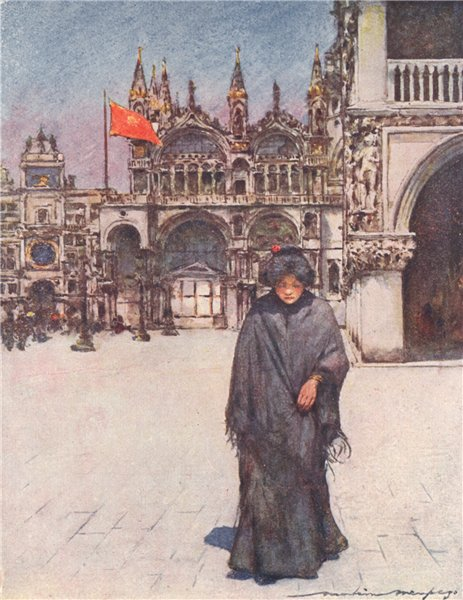 Associate Product 'Crossing the Piazza of St. Mark' by Mortimer Menpes. Venice 1916 old print