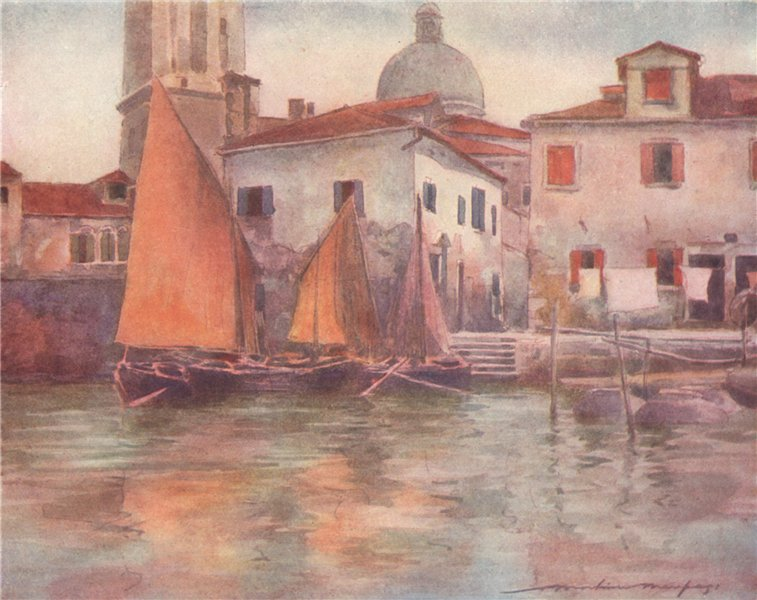 Associate Product VENEZIA. 'Fishing boats from Chioggia' by Mortimer Menpes. Venice 1916 print