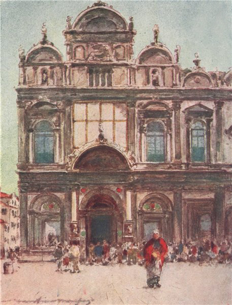 Associate Product VENEZIA.'Scuola di San Marco' by Mortimer Menpes. Venice 1916 old print