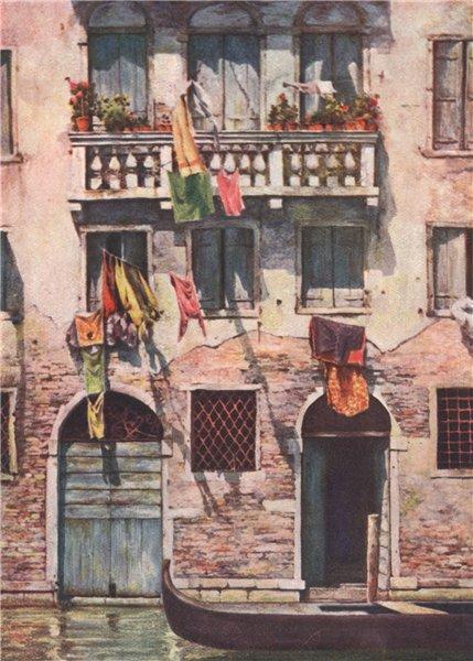 Associate Product VENEZIA. 'Tenements in a quiet street' by Mortimer Menpes. Venice 1916 print