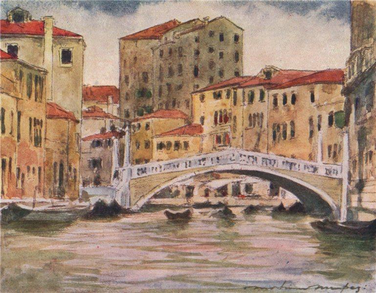 Associate Product 'Bridge near the Palazzo Labia' by Mortimer Menpes. Venice 1916 old print